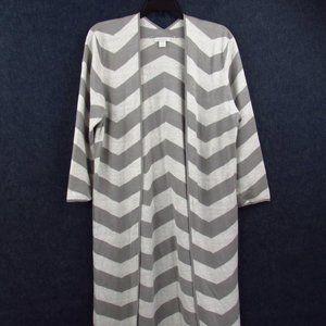 Garnet Hill Gray/White Chevron Sweeper Sweater L